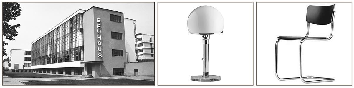 de wereldberoemde Wagenfeld lamp WG24 of de Bauhausstoel.